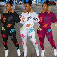 NIKE Women Casual Round Collar Top Pants Set Two-Piece