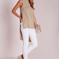 Missguided - Ribbed Roll Neck Side Split Tunic Camel