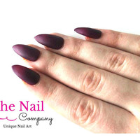 Burgundy Red Matte Stiletto Nails - Fake Nails - Red Stiletto Nails - Oval False Nails - Square Fake Nails - Aritficial Nails - Nail Art
