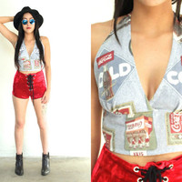 Vintage COCA COLA Cropped Blue Multi Halter Coke Top // Hipster Grunge Biker // XS Extra Small / Small / Medium / Large