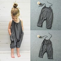 Kids Baby Girls Overalls Backless Casual Romper Sleeveless Jumpsuit