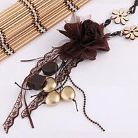 Vintage Brown Plastic Beads Cloth Flower Ribbon Lace Necklace free shipping