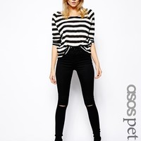 ASOS PETITE Ridley High Waist Ultra Skinny Jeans in Clean Black with R