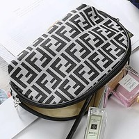 FENDI Stylish Women Popular Multicolor Zipper Toiletry Handbag Cosmetic Bag Purse Wallet Light Grey