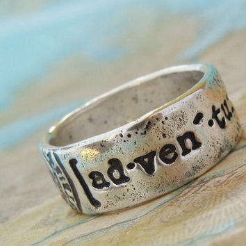 Stacking Ring, Fine Silver Word Jewelry, Adventure Ring, Quote Jewelry World Traveler Gift, Size 5 6 7 8 9 10 11 12 13, Silver Stacking Ring