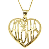 SOLID 14K YELLOW GOLD HAWAIIAN ALOHA PALM TREE PINEAPPLE HEART PENDANT 21.20MM