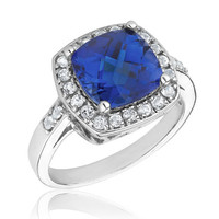 Created Blue Sapphire and Created White Sapphire Ring