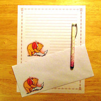 Winnie the Pooh Bear - Lined Stationery Set With Envelopes - Snail Mail - Pen Pal Letters - Writing Paper - Stationary