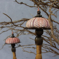 Sea Urchin Ornaments - Pink and Brass - set of two