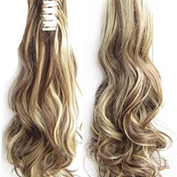 Beauty Wig World 20inch 50cm 100g Long Wave Curly Woman Claw Clip Ponytail Clip on/in Hair Extensions - #8H22 medium brown/Light blonde