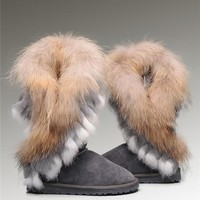 UGG Fox Fur Tall Boots 8688 Grey Popular