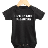 Baby Boy Onesuit, Infant Boy Clothing, Lock Up Your Daughters, As Seen on the Style Network, Baby Boy Onesuit, Onesuit for Infant Boy
