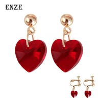 Free shipping fashion ladies jewelry Hollow heart pendant female ear clip personality retro woman  earrings elegant