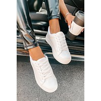 IMPERFECT Making Changes Faux Leather Memory Foam Platform Sneakers (White)