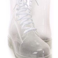 Clear Lace Up Transparent Jelly Boots Rubber