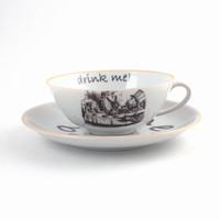 Altered Alice in Wonderland on Vintage Tea or Coffee Cup with Saucer Porcelain Tea Party White Brown Romantic