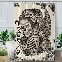 Skull Floral Gothic Waterproof Bathroom Curtain Home Decor