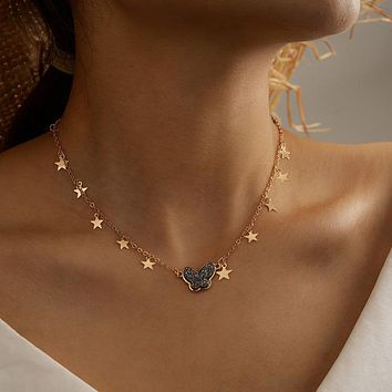 18K Gold Plated Metal Star Charms Tassel Butterfly Necklace