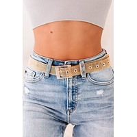 Chained To You Rhinestone Buckle Chain Belt (Gold)