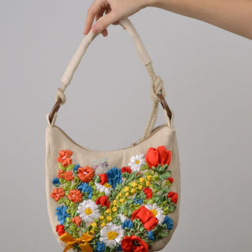 Small bag with satin ribbons embroidery