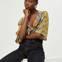 Floral Front Knot Top