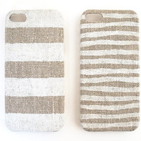 Iphone 5 case white stripes on unbleached natural linen