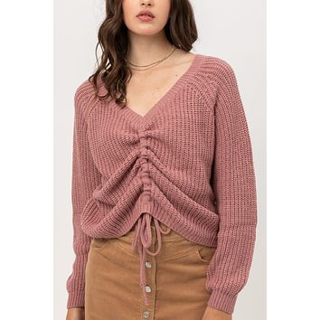 Front Ruched Self Tie Sweater