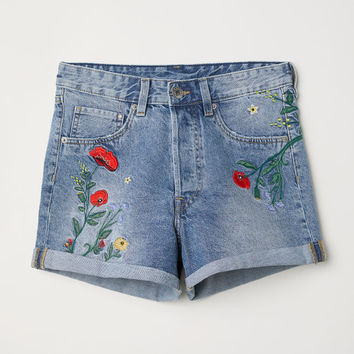 Denim Shorts High Waist - Denim blue/Flowers - Ladies | H&M GB