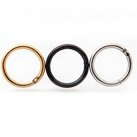 """Cocorina 3 Pack of Septum Nose Rings- 16 gauge - 5/16"""" (8mm) in Stainless Steel Black, Gold & Silver"""