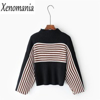 Turtleneck Sweater Pull Femme Christmas Sweater Women Sweaters And Pullovers 2017 Korean Kimono Striped Pullover Jerseys Jumper