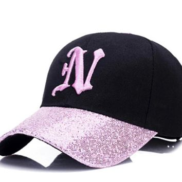 Ladies Letter N Embroidery sequin cap