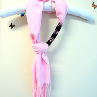 Pink,Pashmina scarf,Necklace,Beaded scarf,Pande scarf necklace