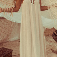 White Chiffon Crochet Cut Out Halter Dress