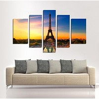 CANVAS ART Eiffel Tower Canvas Art Print Ready to Hang 5 Panels Stretched on Deep 3cm Frame