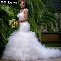 QQ Lover Arabic Style Plus Size Wedding Dress 2017 Deep V Neck Beading Layer Mermaid Wedding Chapel Train Beach Bridal Dress