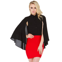 Black Shawl Sleeve Top with Collar