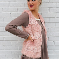 In Love & Lace Dusty Pink Faux Fur Vest With Floral Lace Detail