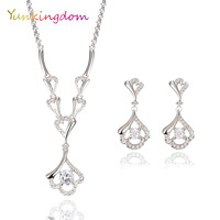 New Arrive Hot Sale Jewelry Sets Heart Style Necklace Austrian crystals Earrings Gold Plated Fashion Flowers Accessories