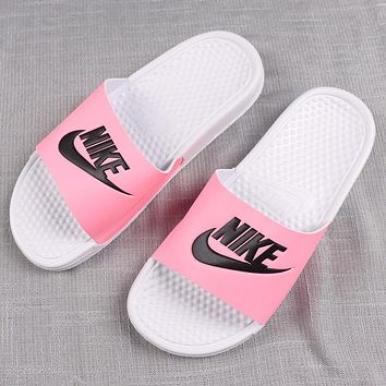 Nike Classic Trending Women Flats Sandals Slippers Shoes Pink(White Soles)