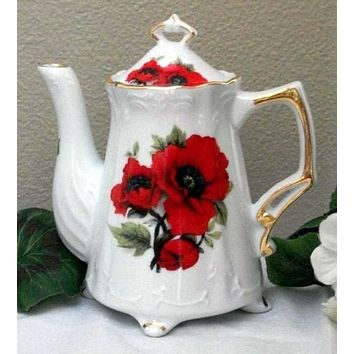 Antique Footed Red Poppy Porcelain Teapot