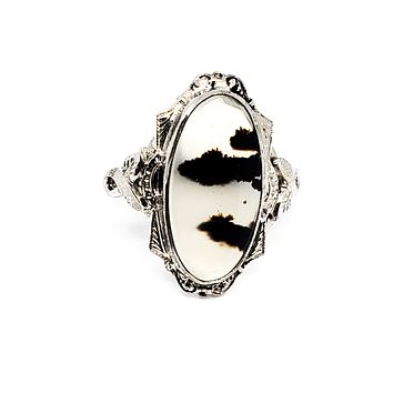 Clark and Coombs Antique moss agate sterling silver Art Deco ring size 6