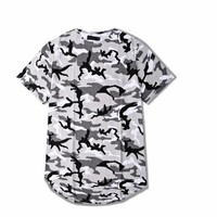 Men Camouflage Longline Hip Hop T-shirt Elongated Tee Shirts Justin Bieber Kanye West New Summer Extended Curved Hem T Shirt