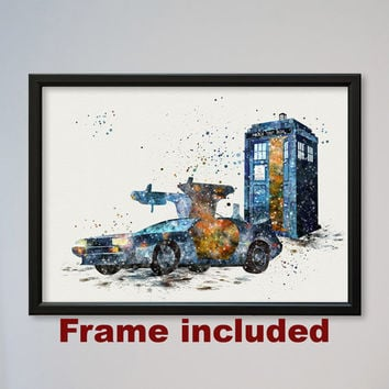 Tardis Back to the Future Poster Watercolor Print Fans gift Doctor Who Dr. Who time machines time traveling DeLorean car FRAMED Picture