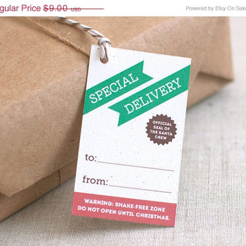 CYBER MONDAY SALE Holiday Gift Tags, Funny - Set of 10 - Special Delivery - Unique & Modern Christmas Tags - Do Not Open Until Christmas