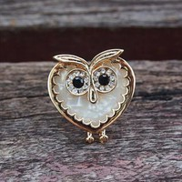 Heart Shape Owl Ring with Big Rhinestone Eyes ABH952 from topsales