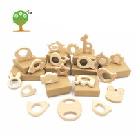 set of 19pc organic beech wood  car giraffe bird whale wooden animal teethers wood teething holder nursing  baby gift EA89