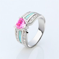 Costume Fashion Jewelry Pink Sapphire/Opal's 10KT White Gold Filled Ring  size6/7/8/9/10