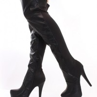 Black Faux Leather Nylon Sexy Thigh High Boots