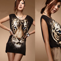 Korean Women Loose Crew Neck Sleeveless Tiger Print Tee T-shirt Tops Loose New