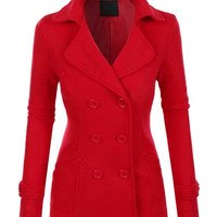 Gorgeous Classic Fully Lined Tapered Double Breasted Pea Coat - Red, Black or Camel